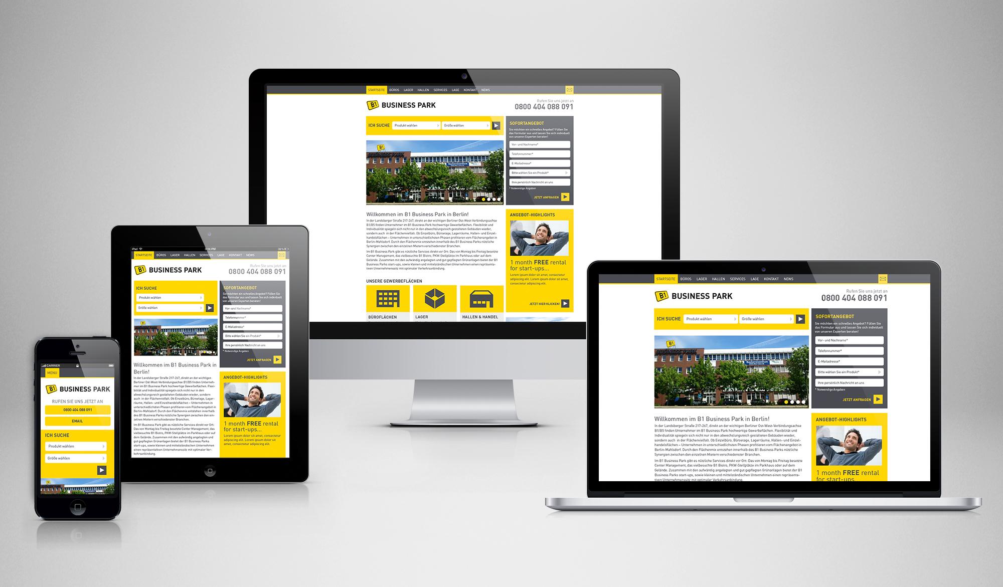B1 Business Park responsive website