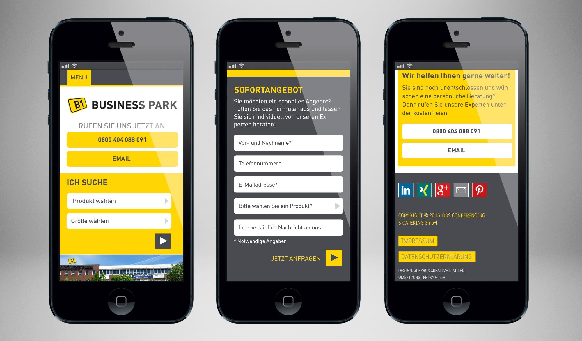 B1 Business Park mobile website