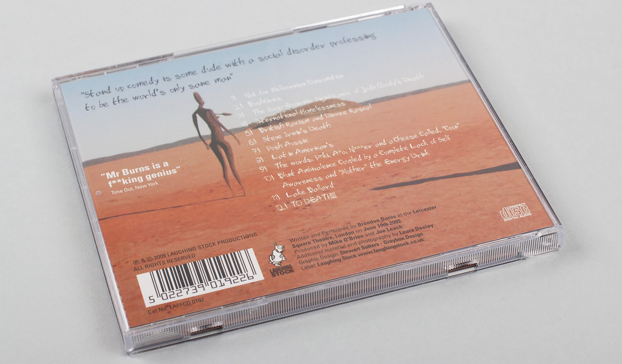 Brendon Burns CD  - packaging
