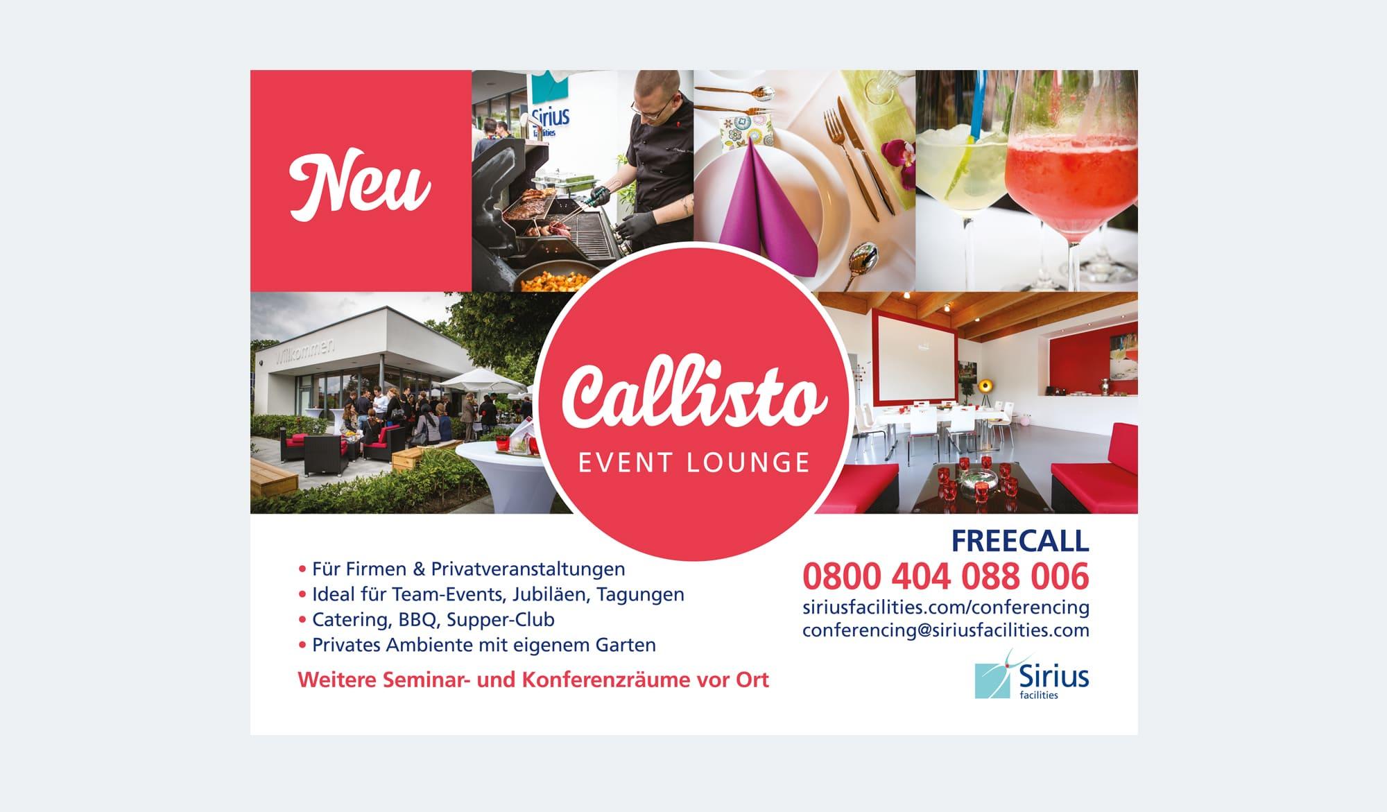 Callisto event lounge - signage