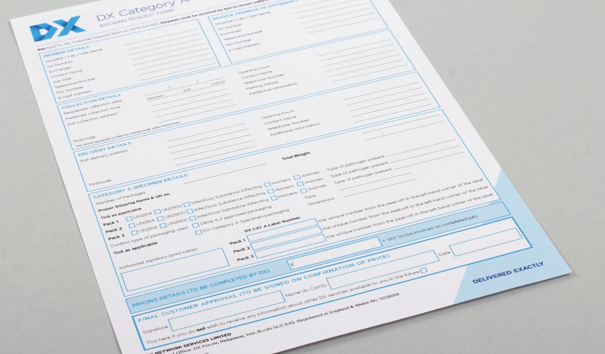 DX customer order form