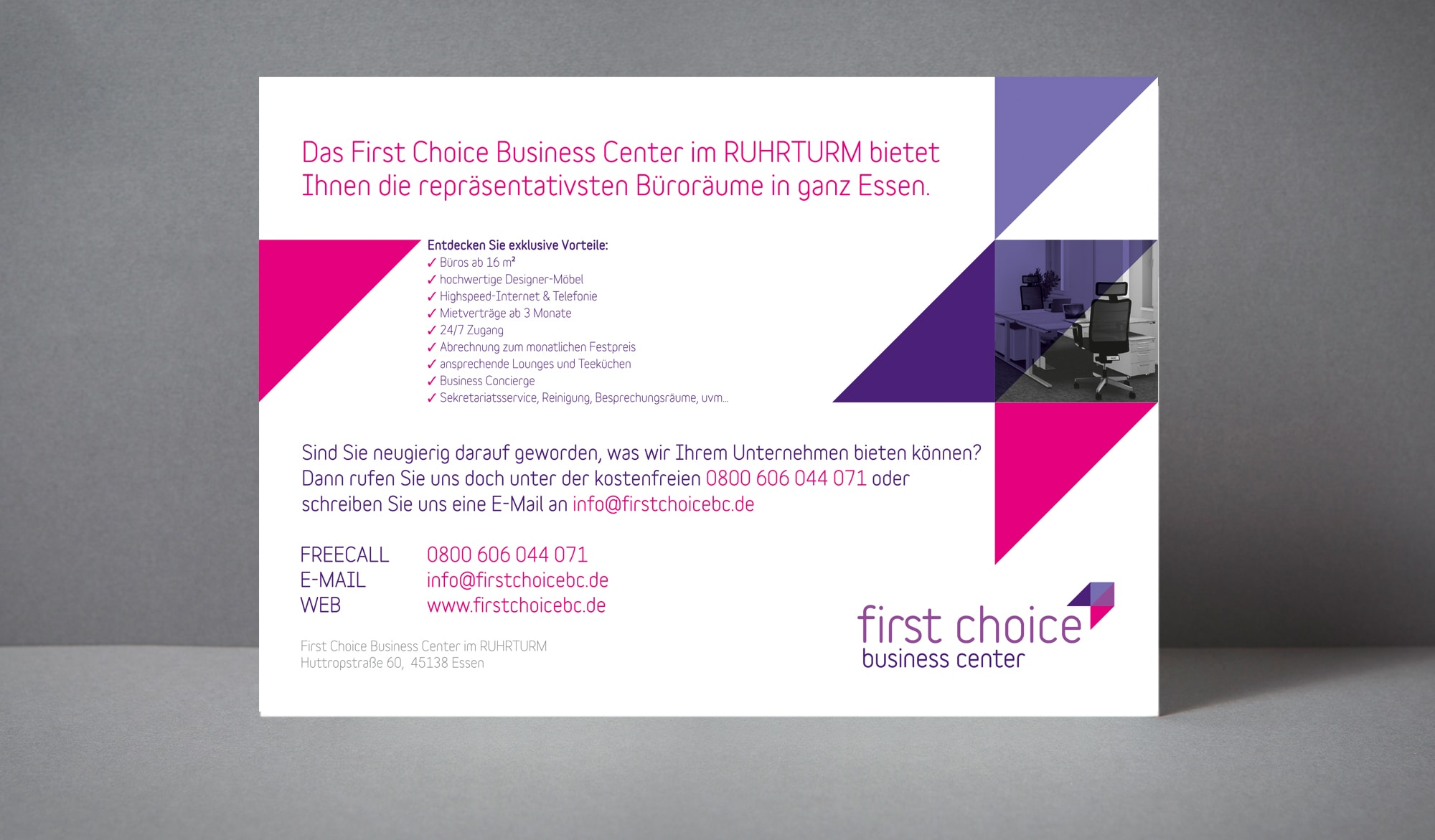 First Choice Business Centre sales material