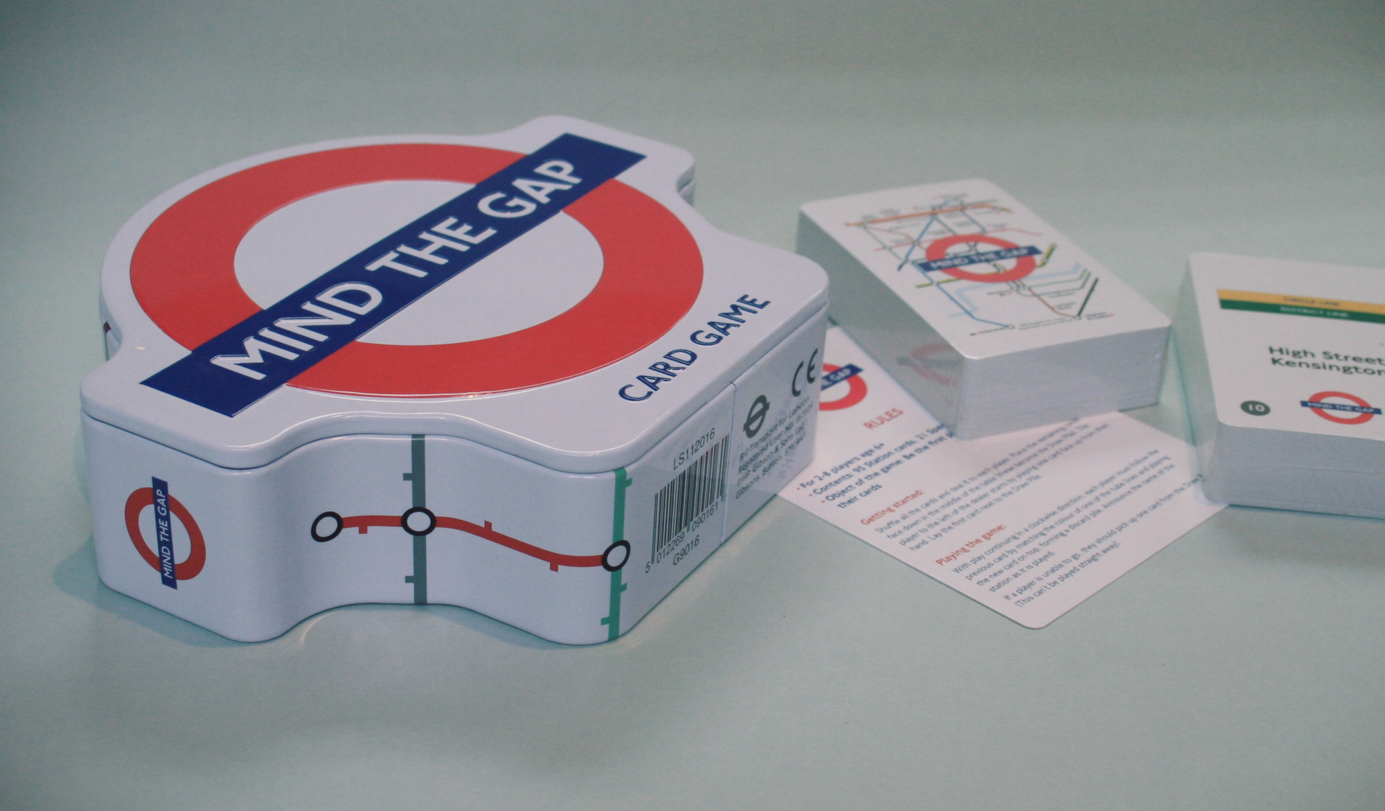 Mind the Gap tin and cards