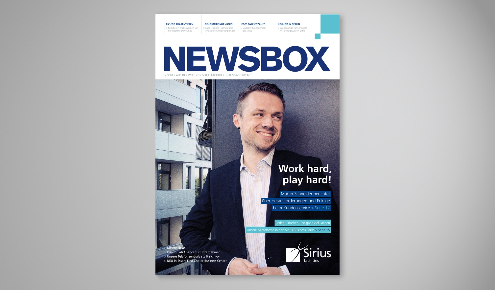 Sirius Newsbox newsletter front cor