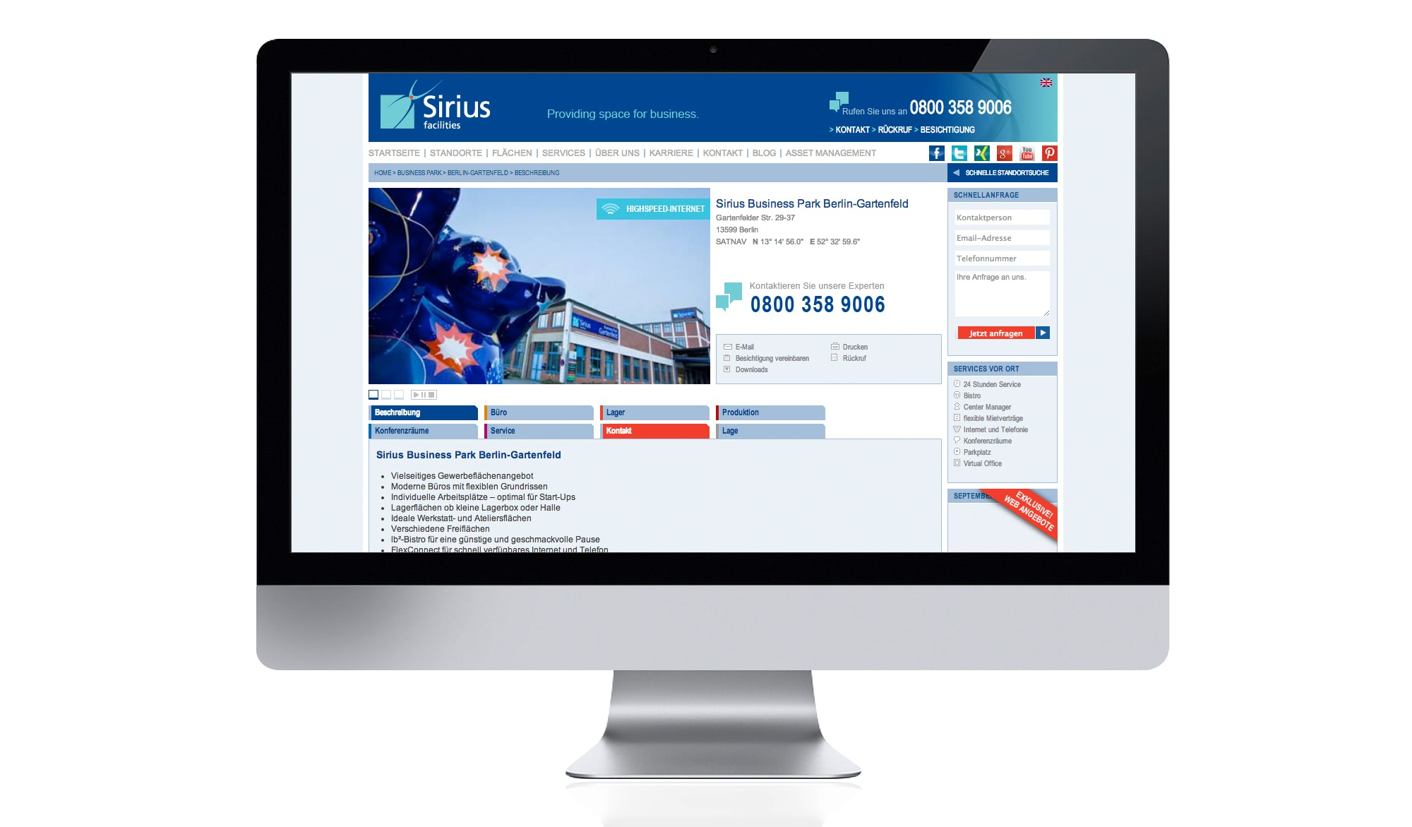 Sirius Facilities website - centre page