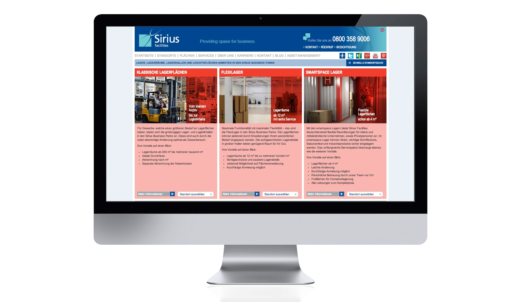 Sirius Facilities website - services page