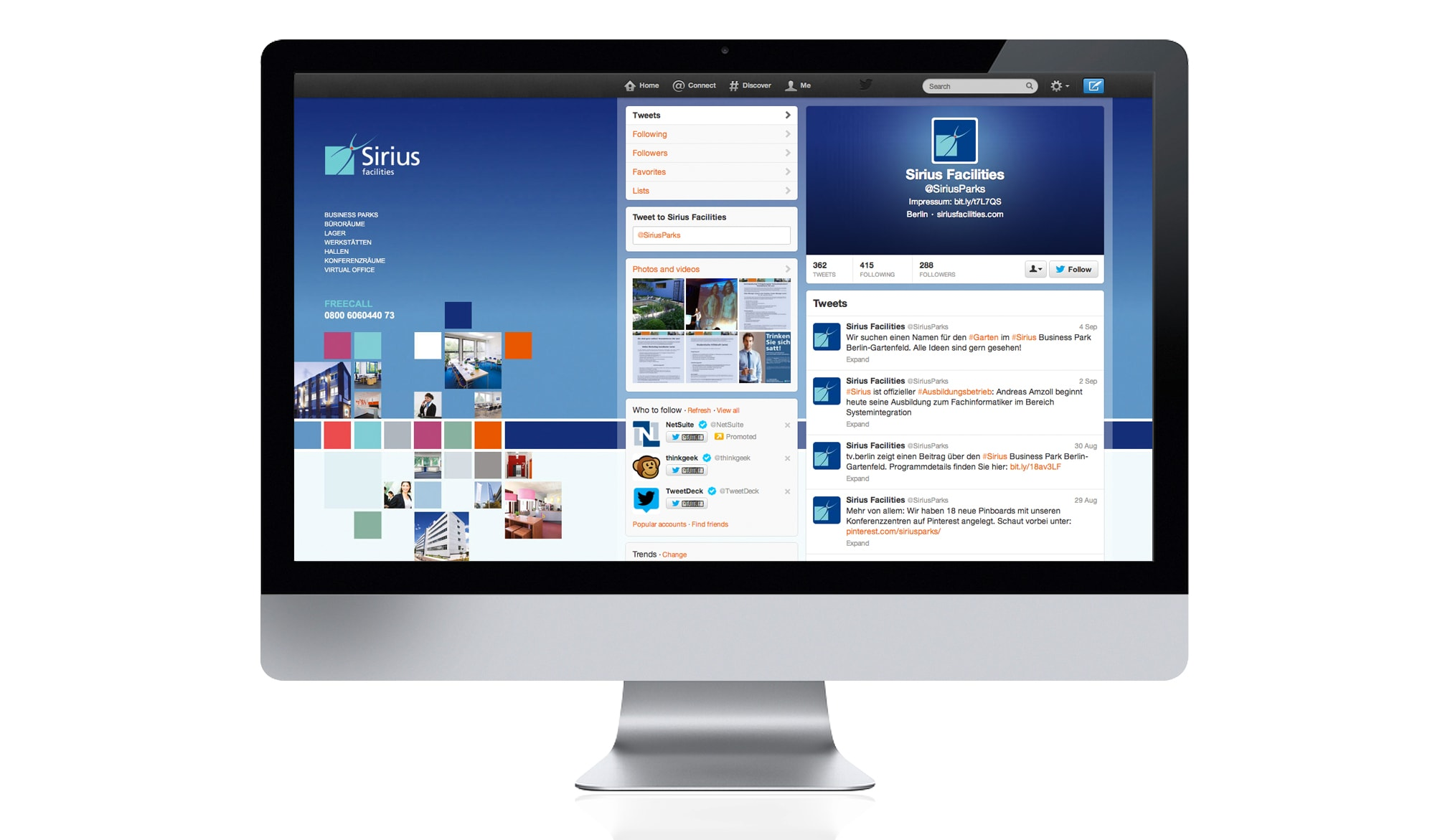 Sirius Facilities website - twitter page