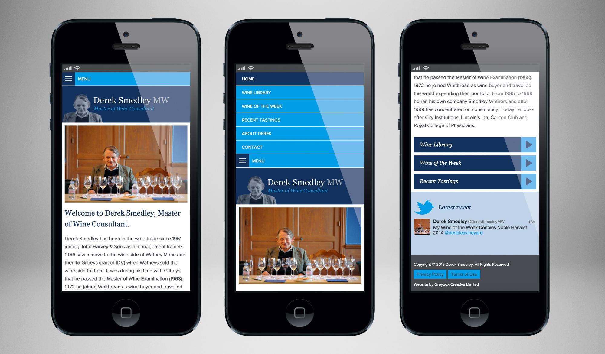 Derek Smedley mobile website design