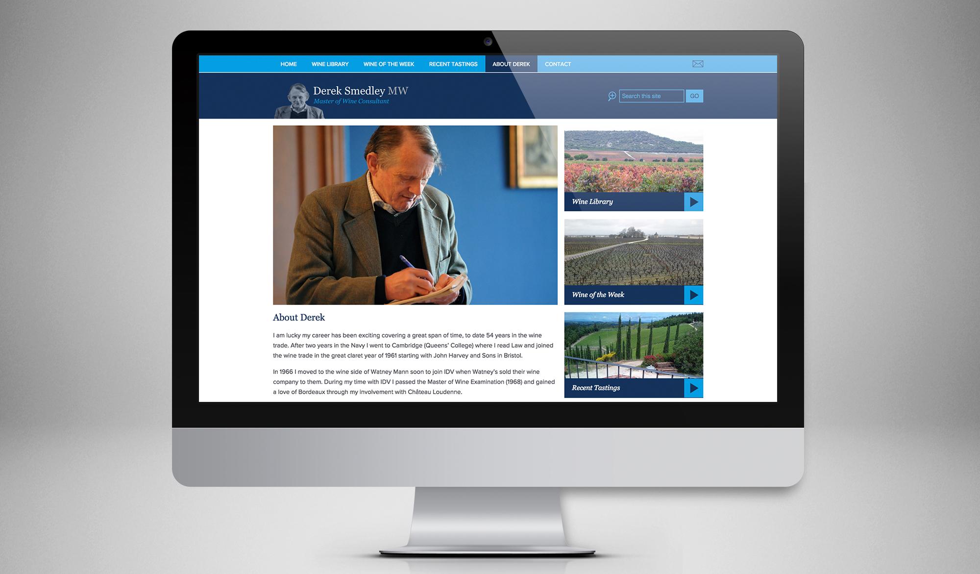 Derek Smedley website page