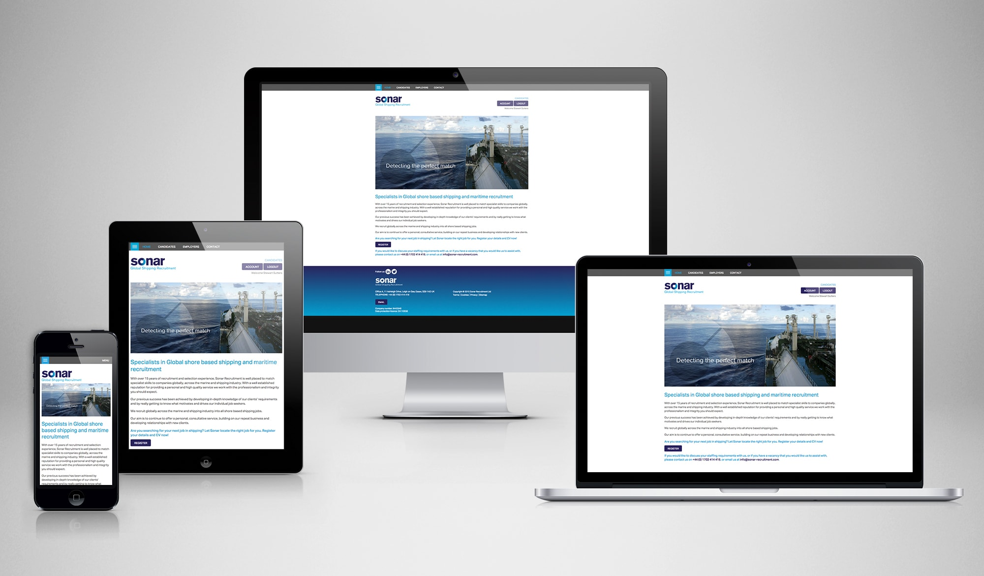 Sonar recruitment responsive website