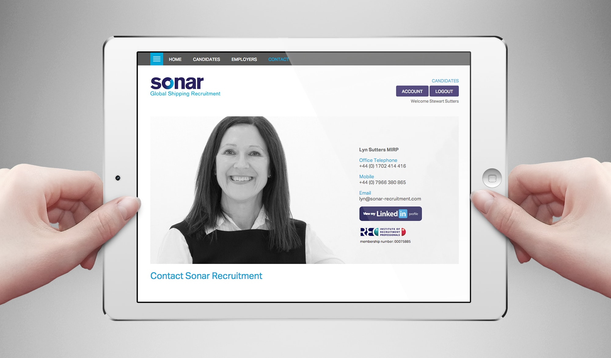 Sonar recruitment tablet landscape