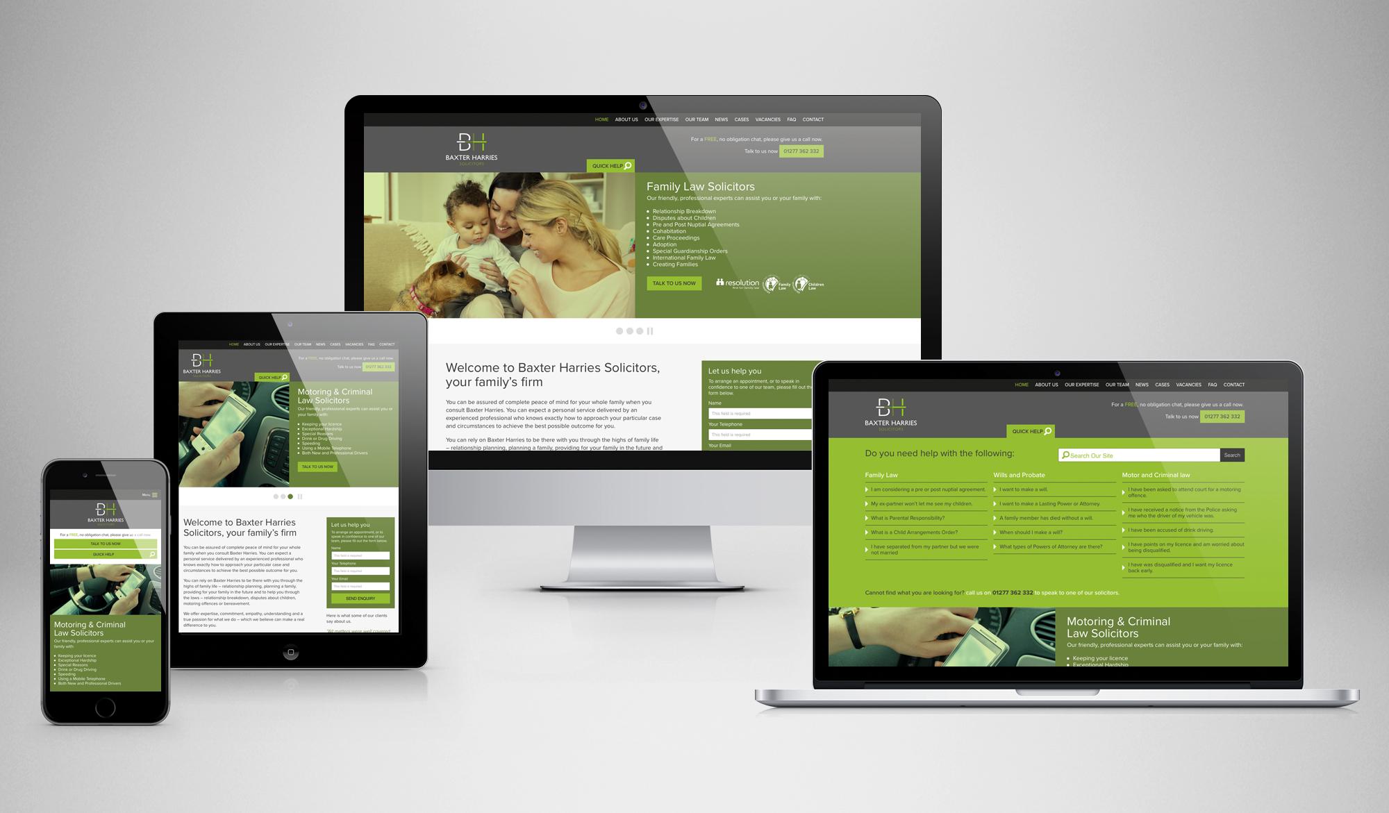 Baxter Harries Solicitors website