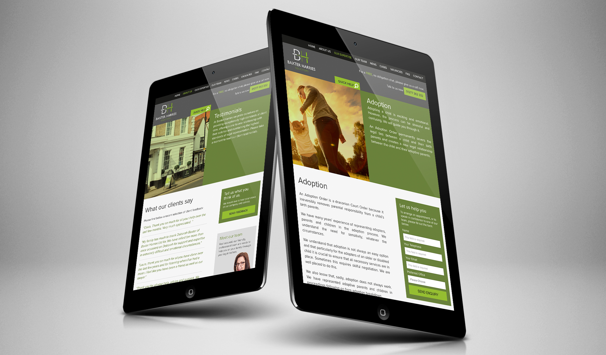Baxter Harries Solicitors tablet