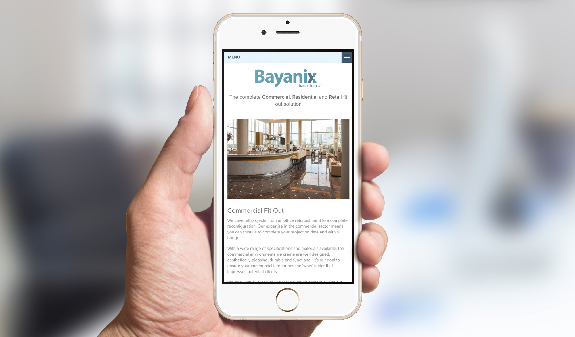 Bayanix website - mobile