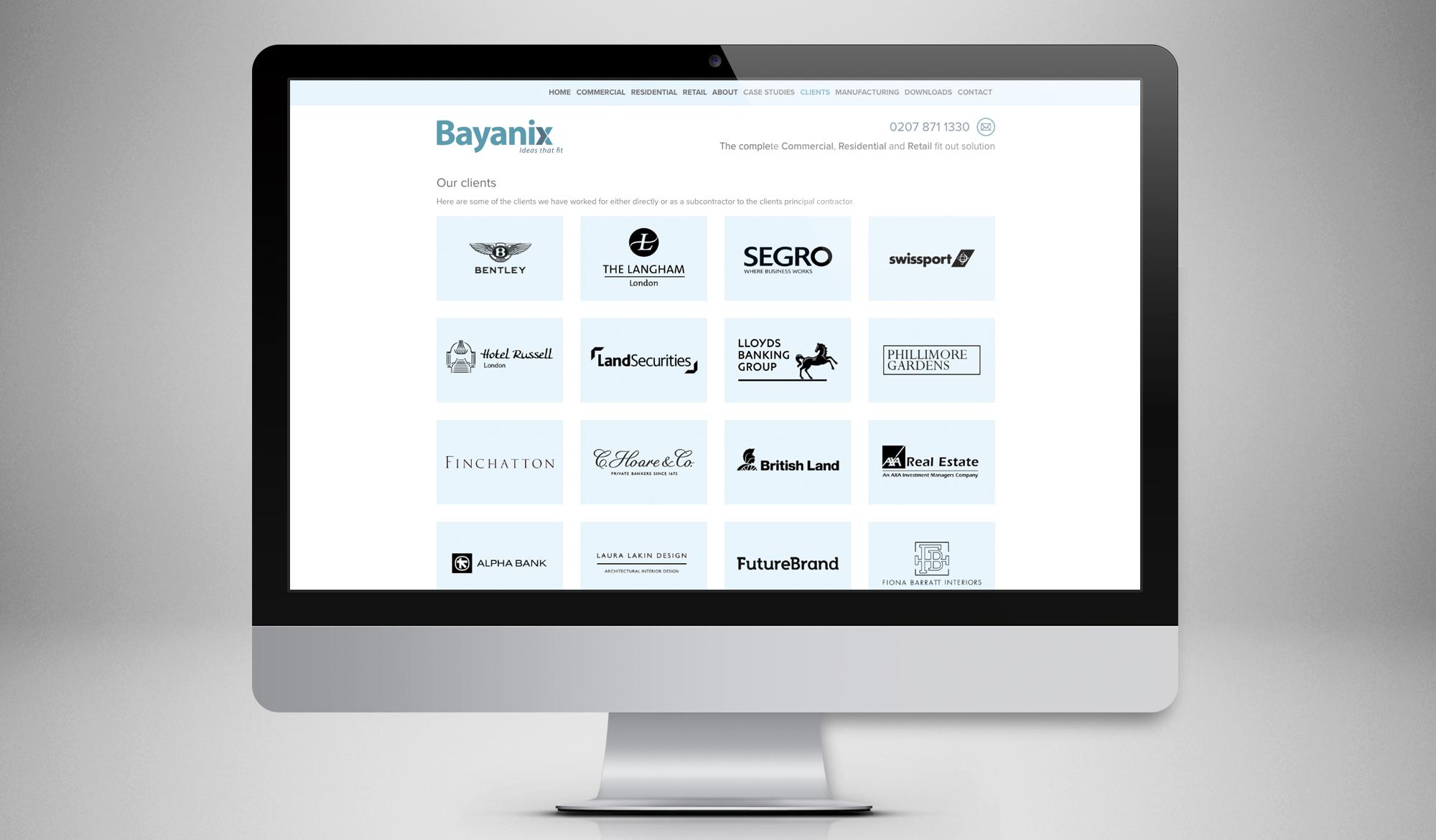 Bayanix website - desktop