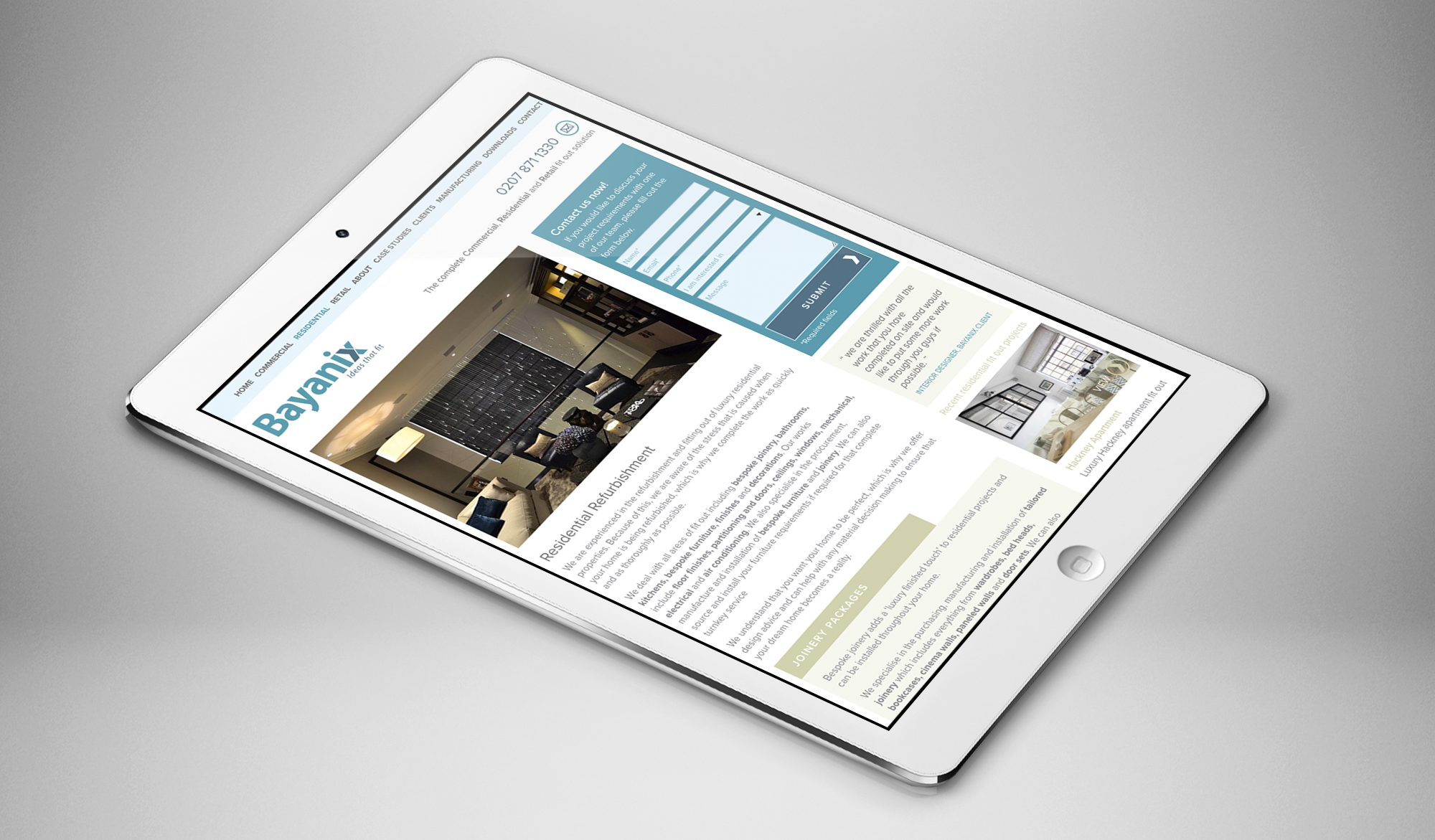 Bayanix website - tablet