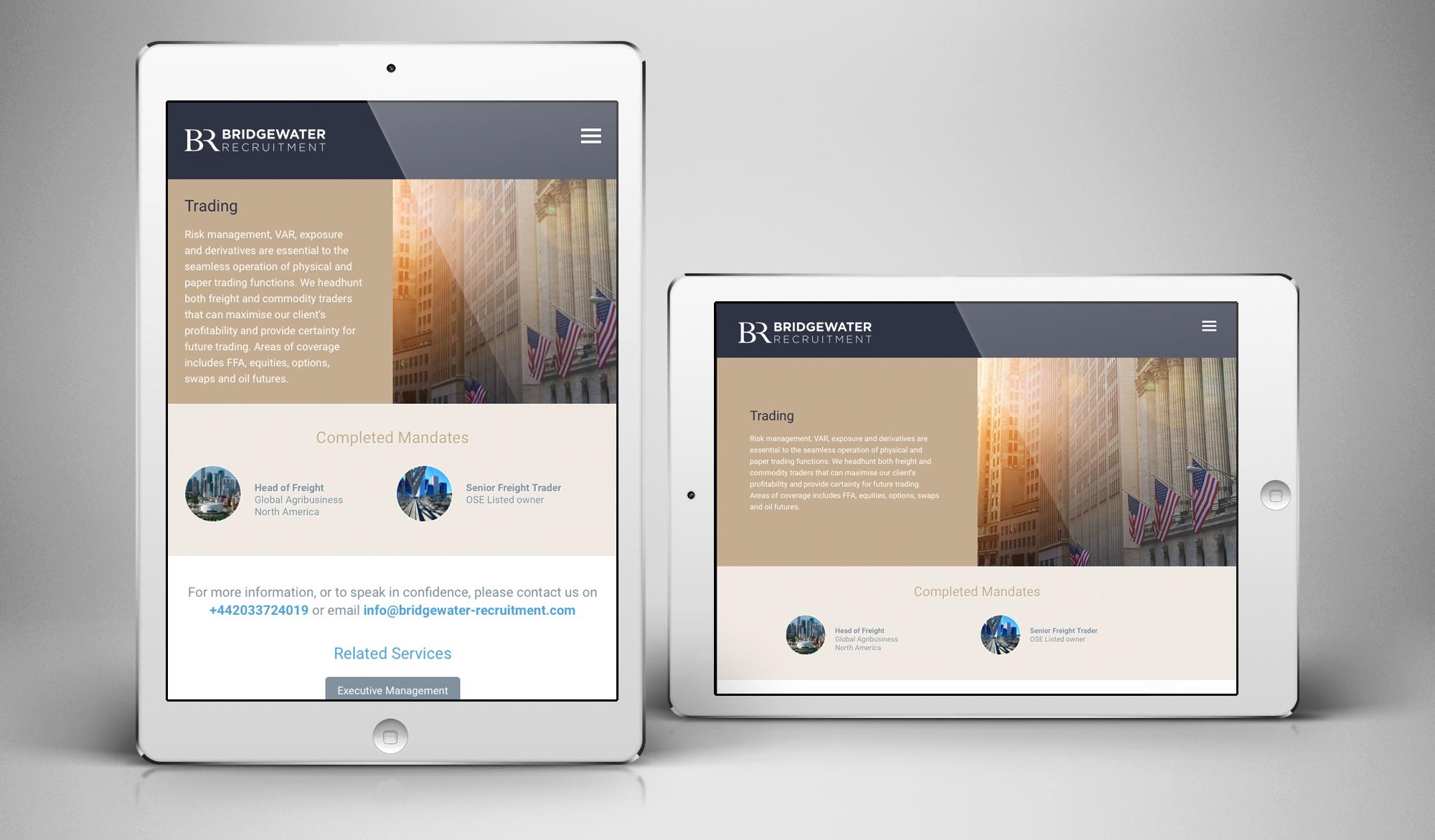 Bridgewater Recruitment tablet views