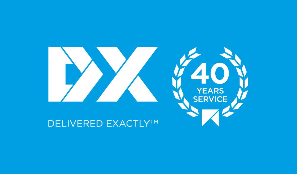 DX 40 year logo white version